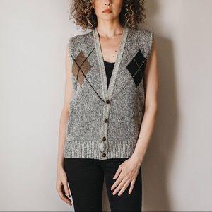 Vintage Argyle Wool Blend Sweater Vest